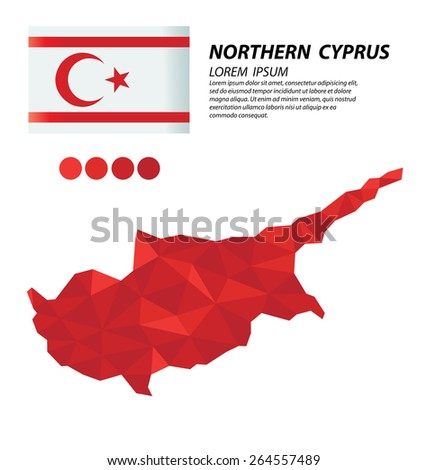 Turkish Republic of Northern Cyprus geometric concept design - stock vector