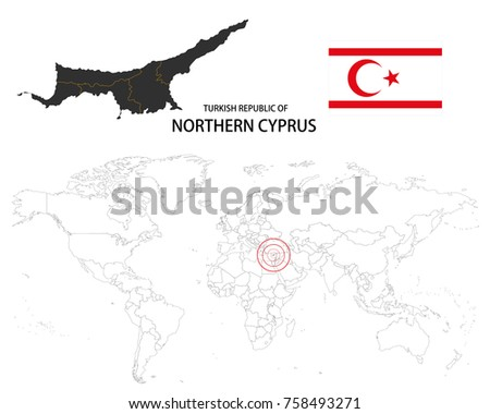 Turkish republic northern cyprus map on stock vector 758493271 turkish republic of northern cyprus map on a world map with flag on white background gumiabroncs Images