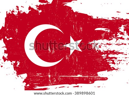 Turkish scratched Flag. A Turkish flag with a grunge texture - stock vector
