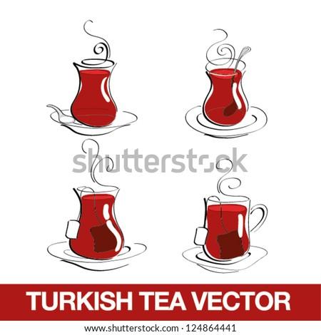 Turkish Tea Cup - stock vector