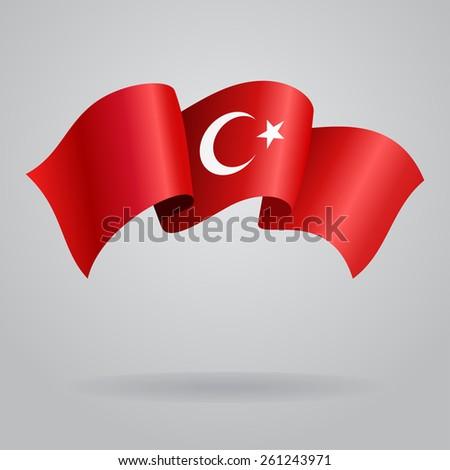 Turkish waving Flag. Vector illustration Eps 8. - stock vector