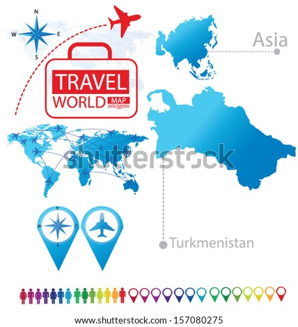 Turkmenistan. Asia. World Map. Travel vector Illustration. - stock vector