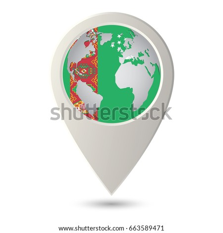Turkmenistan Flag Location Map Icon Check Stock Vector 663589471