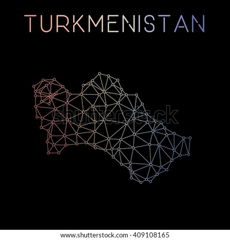 Turkmenistan network map. Abstract polygonal map design. Network connections vector illustration. - stock vector