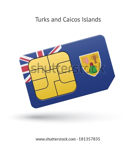 Turks and Caicos Islands mobile phone sim card with flag. Vector illustration.