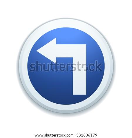 Turn left ahead - stock vector