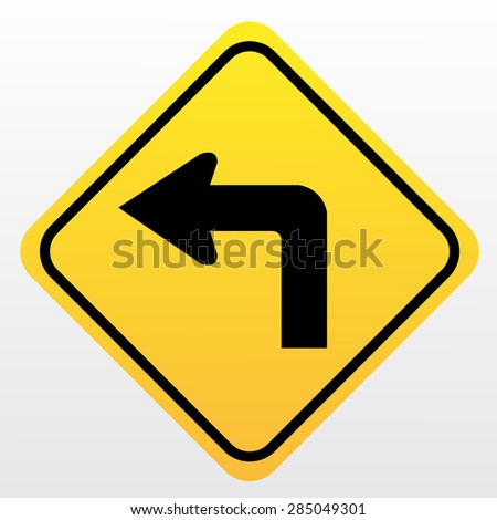 Turn left sign - stock vector