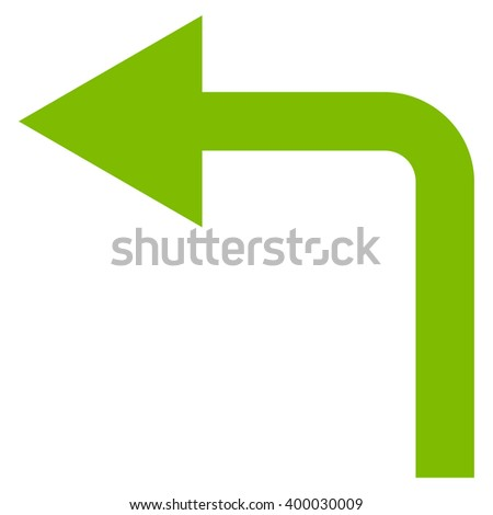 Turn Left vector icon. Style is flat icon symbol, eco green color, white background.