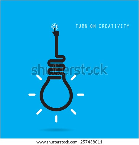Turn on Creative light bulb concept, design for poster, flyer, cover or brochure. Business idea and education concept. Vector illustration - stock vector