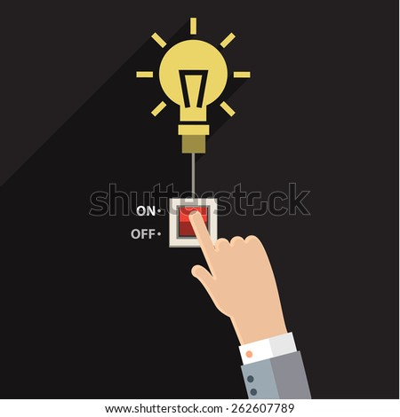 Turn on idea, representing with hand pushing on button on for bright light bulb. - stock vector