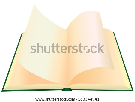 Turning the pages of a book with blank pages. Vector illustration. - stock vector