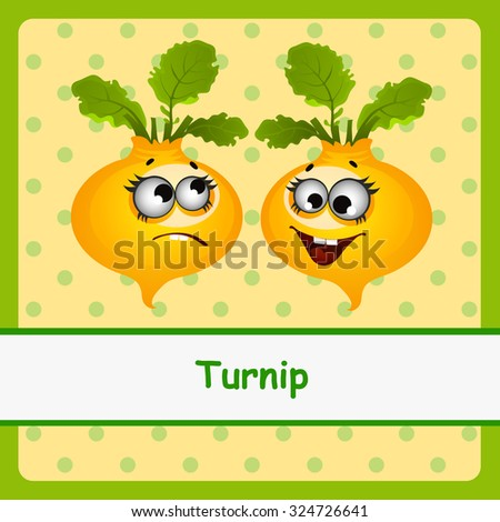 Turnip, funny characters on yellow background - stock vector