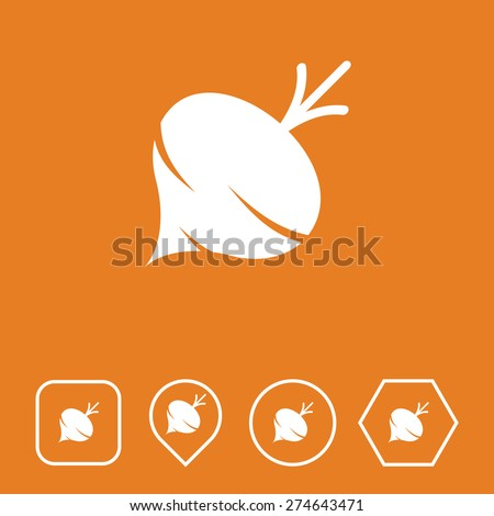 TURNIP Icon on Flat UI Colors with Different Shapes. Eps-10. - stock vector