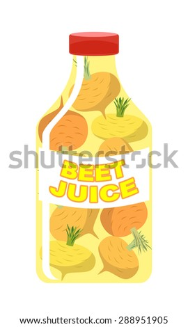 Turnip juice. Juice from fresh vegetables. Turnip in a transparent bottle. Vitamin drink for healthy eating. Vector illustration. - stock vector