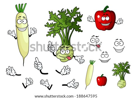 Turnip, radish and pepper vegetables in cartoon style for food design - stock vector
