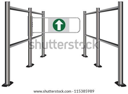 Turnstile in public places, indicating the movement for the visitors. Vector illustration.