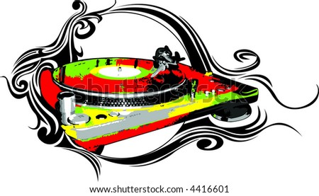 turntable 3 - stock vector