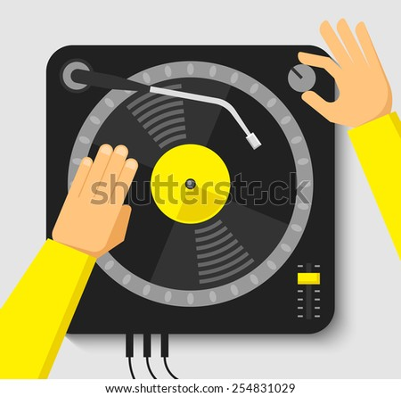 Turntable and dj hands. Music concept in flat style - stock vector