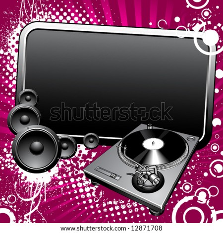 Turntable and glossy banner on a grunge background - stock vector
