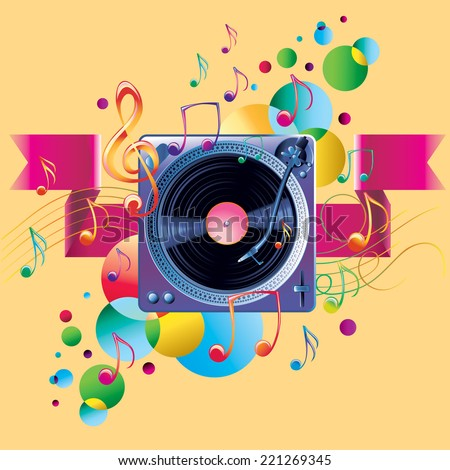 Turntable melody - stock vector