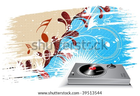 turntable on grunge floral wave lien background, vector illustration - stock vector