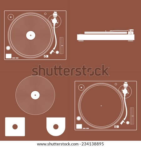 Turntable vinyl record player. Turntable icon. - stock vector