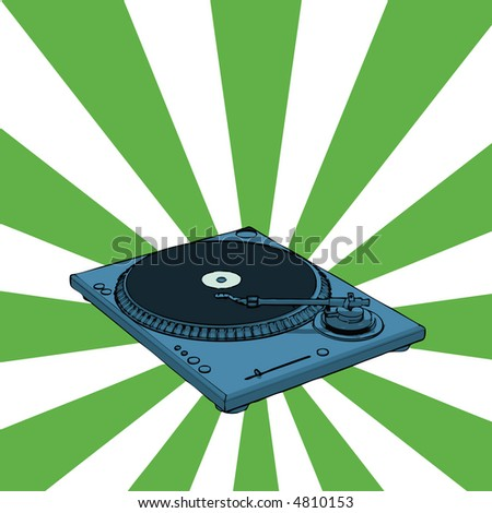 turntable with retro green background (vector eps format)