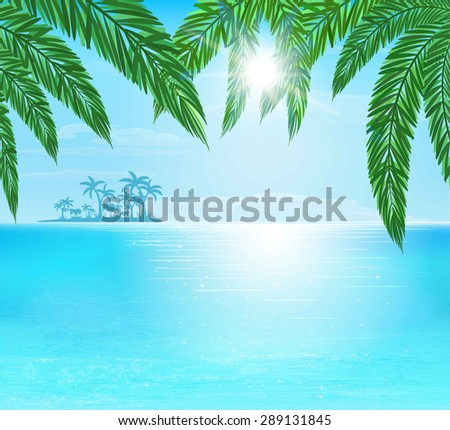 turquoise and blue sea, sun with ray and clouds on blue sky, vector illustration - stock vector