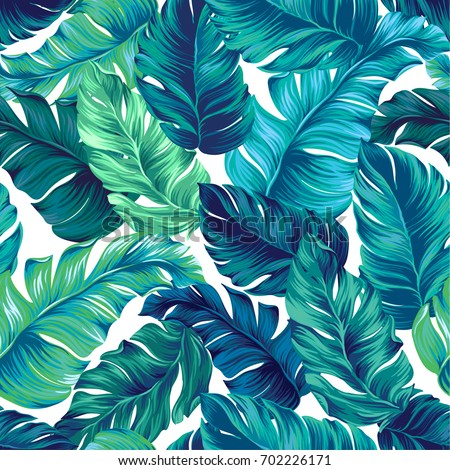 Turquoise Green Tropical Leaves Seamless Graphic Stock