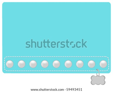 Turquoise and Pearl Dog Collar Styled Name Tag - stock vector