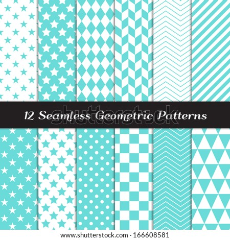 Turquoise and White Geometric Seamless Patterns. Backgrounds in Diamond, Chevron, Polka Dot, Checkerboard, Stars, Triangles, Herringbone and Stripes Patterns. Pattern Swatches with Global Colors. - stock vector