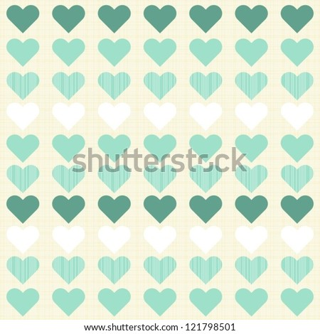 turquoise and white little hearts in rows on beige seamless romantic pattern - stock vector
