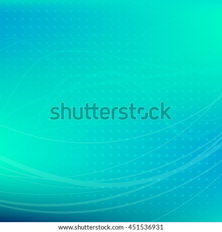 Turquoise background. Soft abstract green-blue background textured by dots with wavy strips. Dark turquoise vector graphic pattern - stock vector