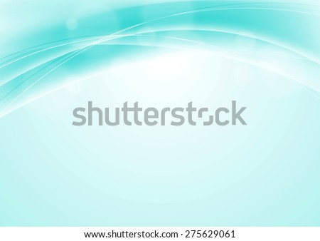 Turquoise blue abstract smooth wavy background. Vector backdrop - stock vector