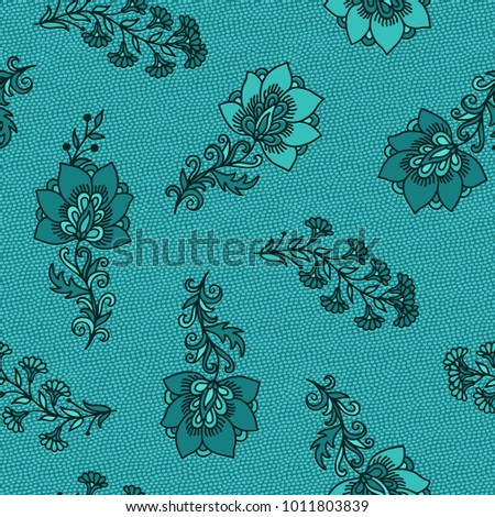 Turquoise indian seamless vector floral pattern