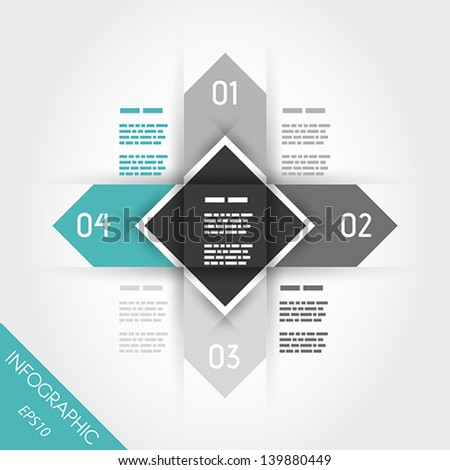 turquoise infographics wit arrow and square in middle. infographic concept.