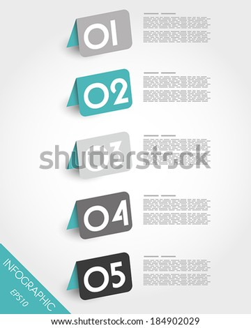 turquoise origami oblique rounded standing stickers. infographic concept.