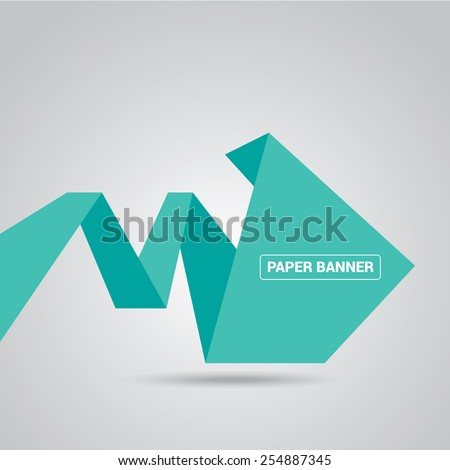 turquoise origami paper speech bubble or web banner .vector illustration