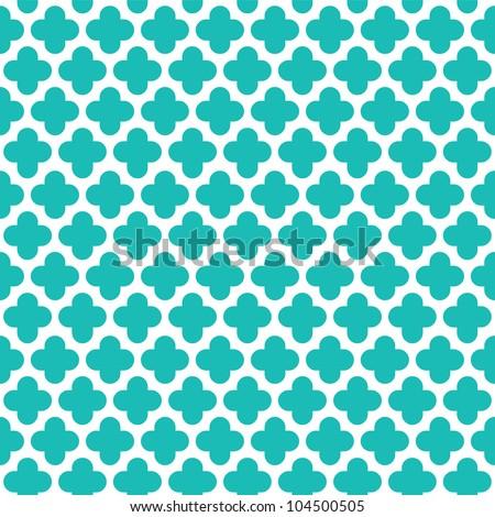 Turquoise Quatrefoil Pattern - stock vector