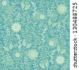 turquoise seamless floral pattern - stock