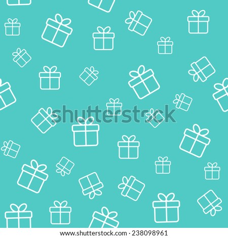 Turquoise seamless pattern with gift boxes - stock vector