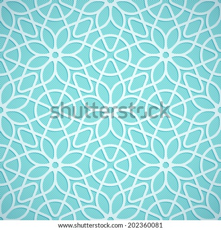 Turquoise seamless texture convex lace floral pattern in oriental style - stock vector