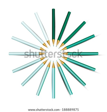 Turquoise Shades Colored Pencils in Circle.  - stock vector