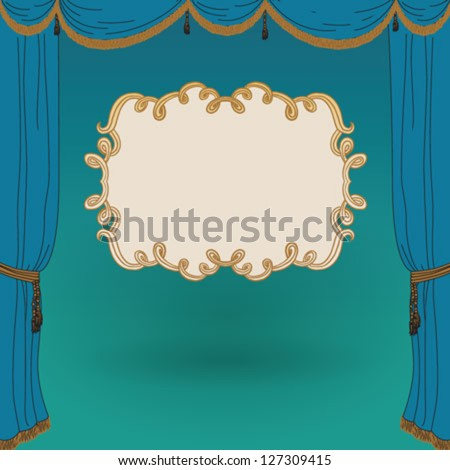 turquoise stage curtains with backdrop, the empty curly frame. Vintage poster template, blank, CD cover. Concept vector illustration for theater, cinema, movie, performance, musical. - stock vector