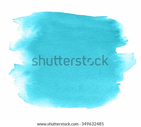 Turquoise watercolor abstract square hand drawn paper texture isolated stain on white vector background. Art wash brush painted stroke design element for scrapbook, print, template, cover, wallpaper - stock vector