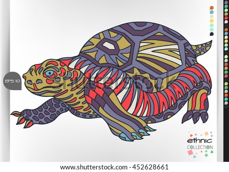 Turtle. Animal patterns with hand-drawn doodle waves and lines. Vector illustration in bright colors.