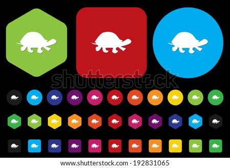 turtle button - stock vector