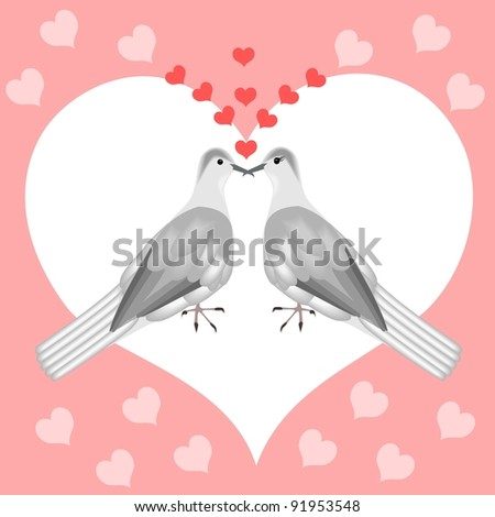 Turtle doves - stock vector