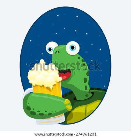 turtle having a beer - stock vector
