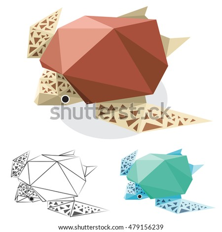 turtle illustration graphic art in low polygon vector , geometric illustration, origami art